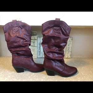 Shoes - Maroon slouch boot size 8 with a 1 inch heel.
